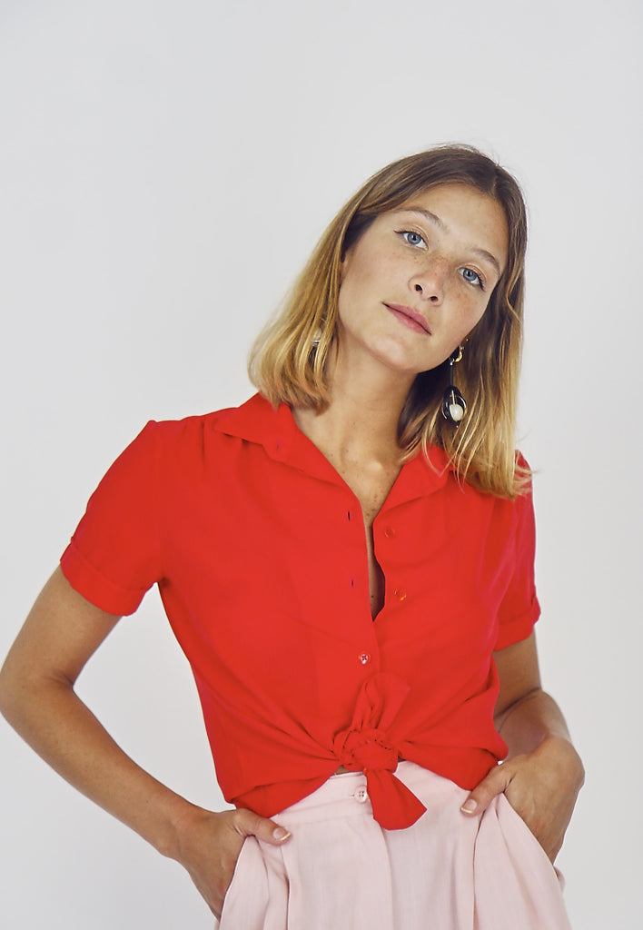 Cute 80's Red Button Up Blouse