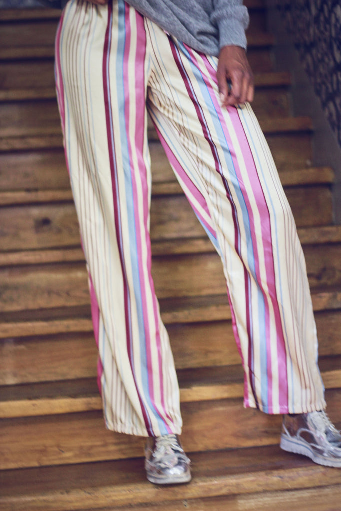 90s Vintage Silky Candy Striped Pyjama Trousers