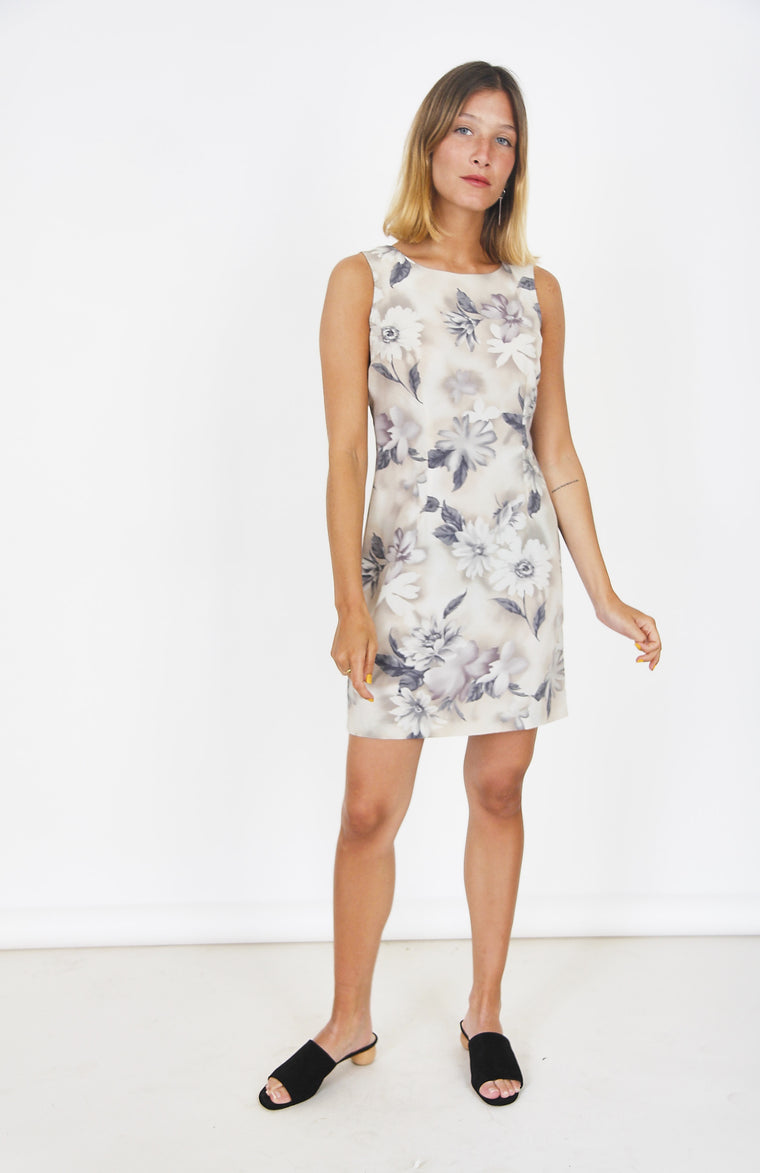90s Muted Floral Shift Dress