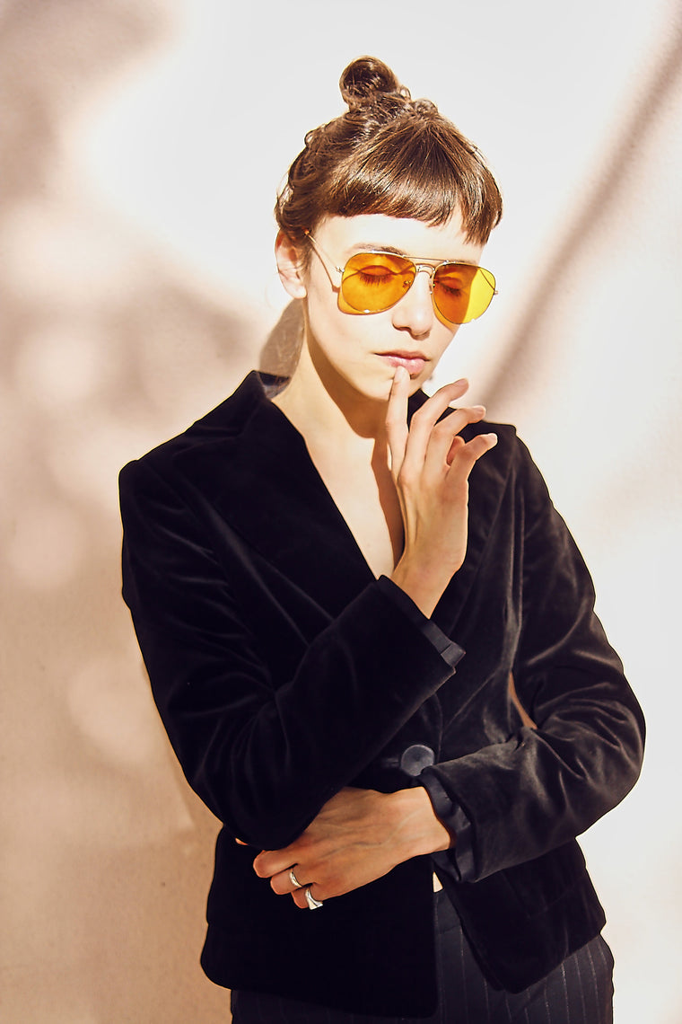 Orange Lens 'Terry' Gold Frame Aviators