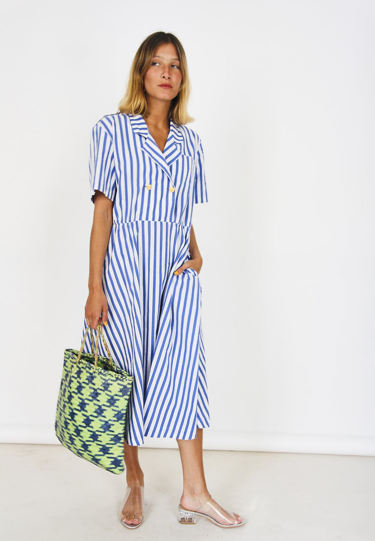 80s Nautical Midi Shirt Dress