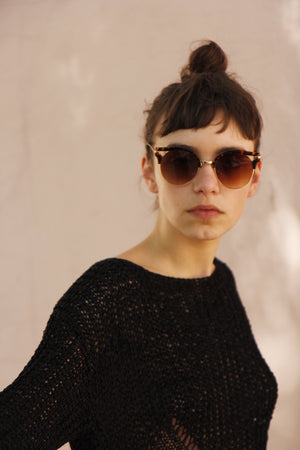 Tortoieshell Cut-Out Brow Sunglasses
