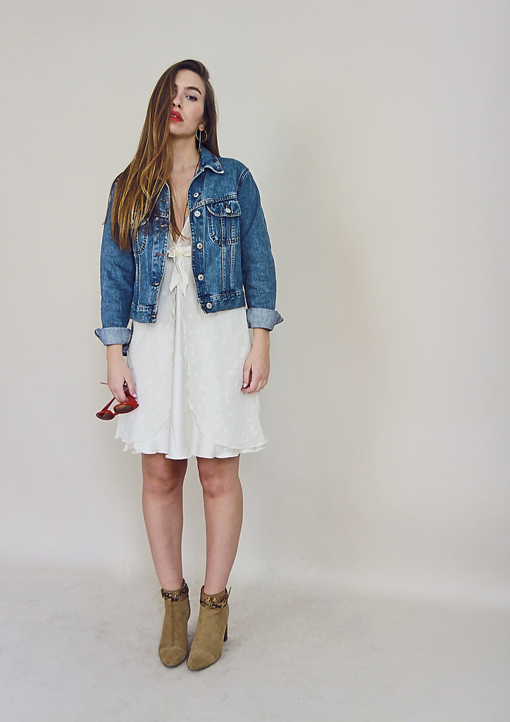90s Vintage Cute Shrunken Denim Jacket