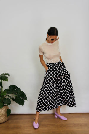 Polka Dot Fit Flare Trousers