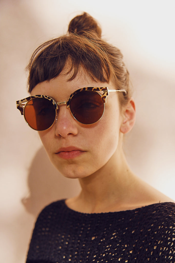 Animal Print Cut-Out Brow Sunglasses