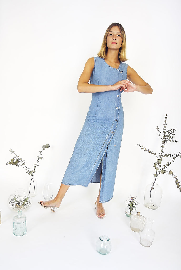 90s Denim Button Down Dress