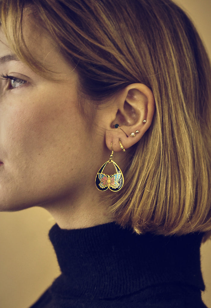 Butterfly Cloisonne Enamel Earrings