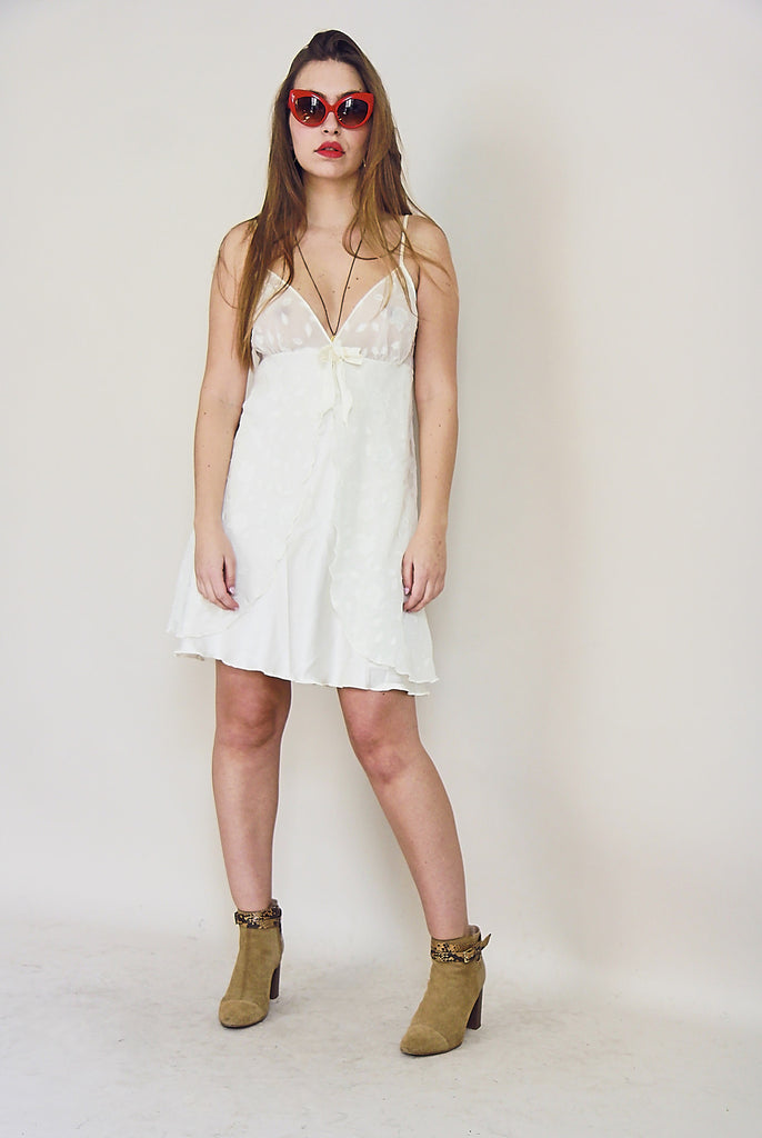 90s Silky White Slip Dress