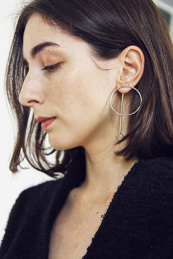 Silver Minimal Circular Pendant Earrings