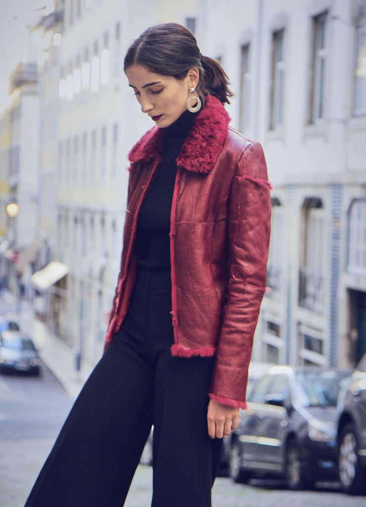 90s Vintage Red Leather and Fur Jacket