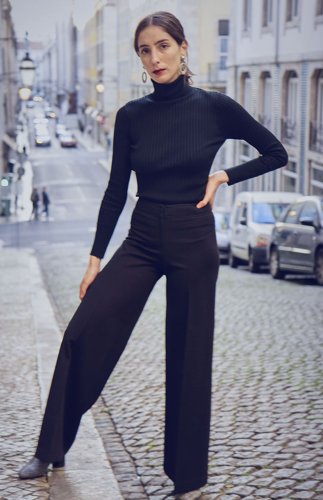 70s High Waisted Black Palazzo Trousers