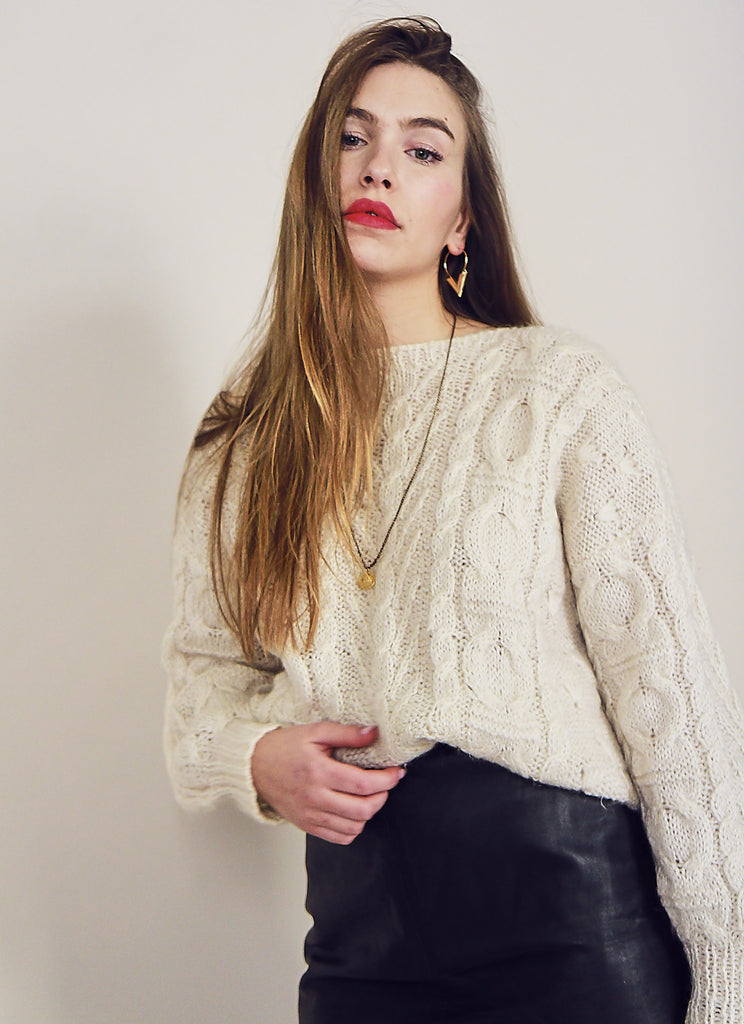 80s Cream Chunky Knit Jumper