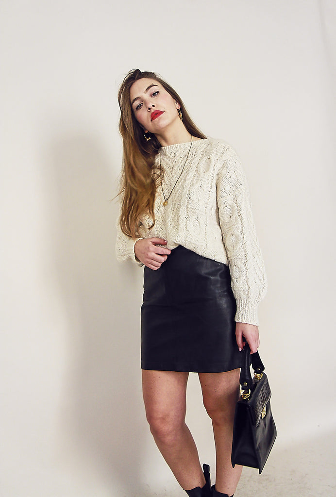 Vintage 80s Black Leather Mini Skirt
