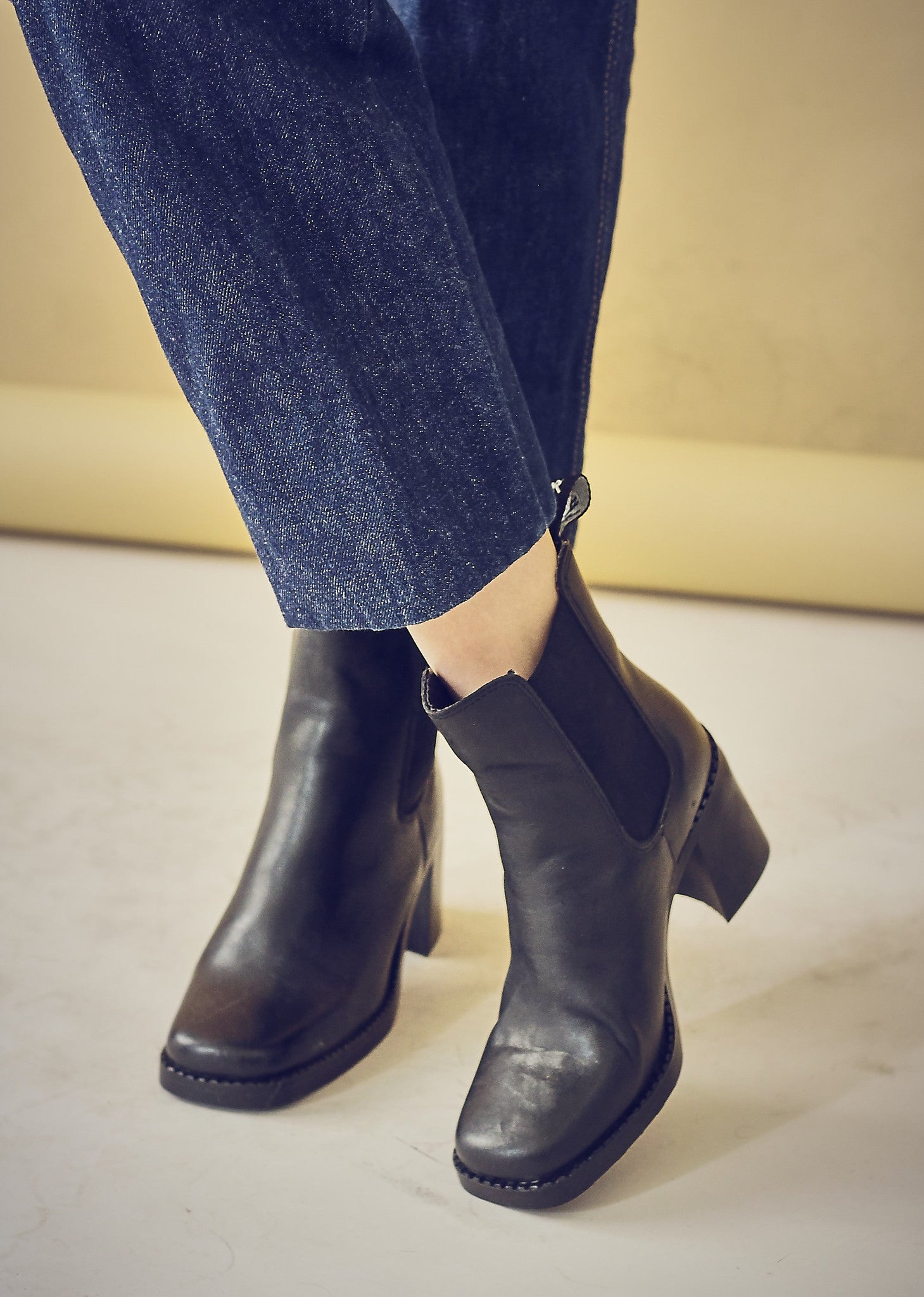 90s Style Black Leather Chunky Heel Chelsea Boots - Bird On A Wire