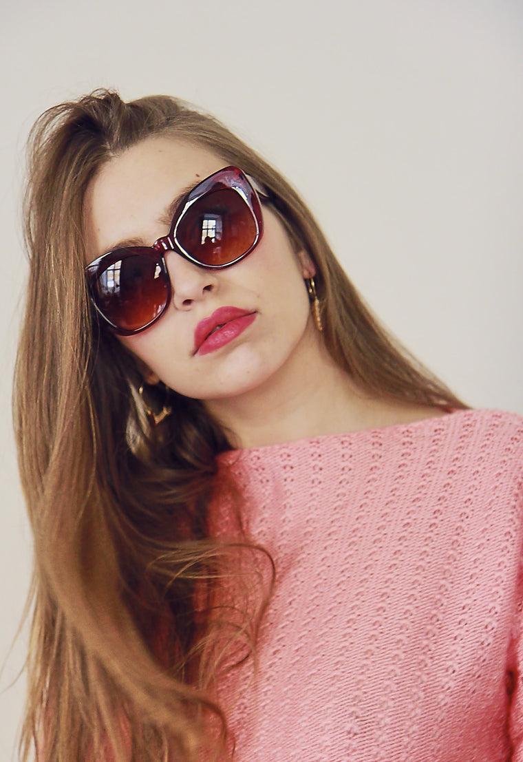 70s Style Toffee Wide Frame Sunglasses