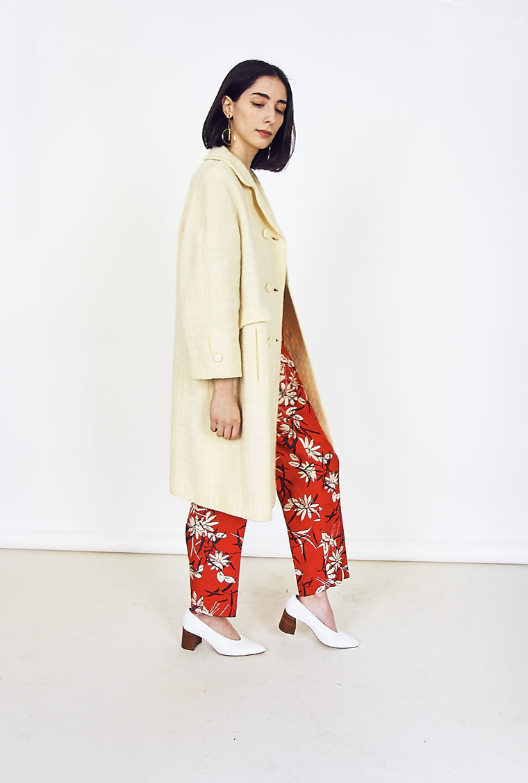 Vintage 60s Wool Cream Trench Coat