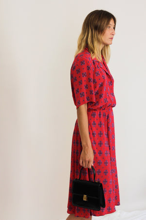 80s Red Printed Shirt Dress