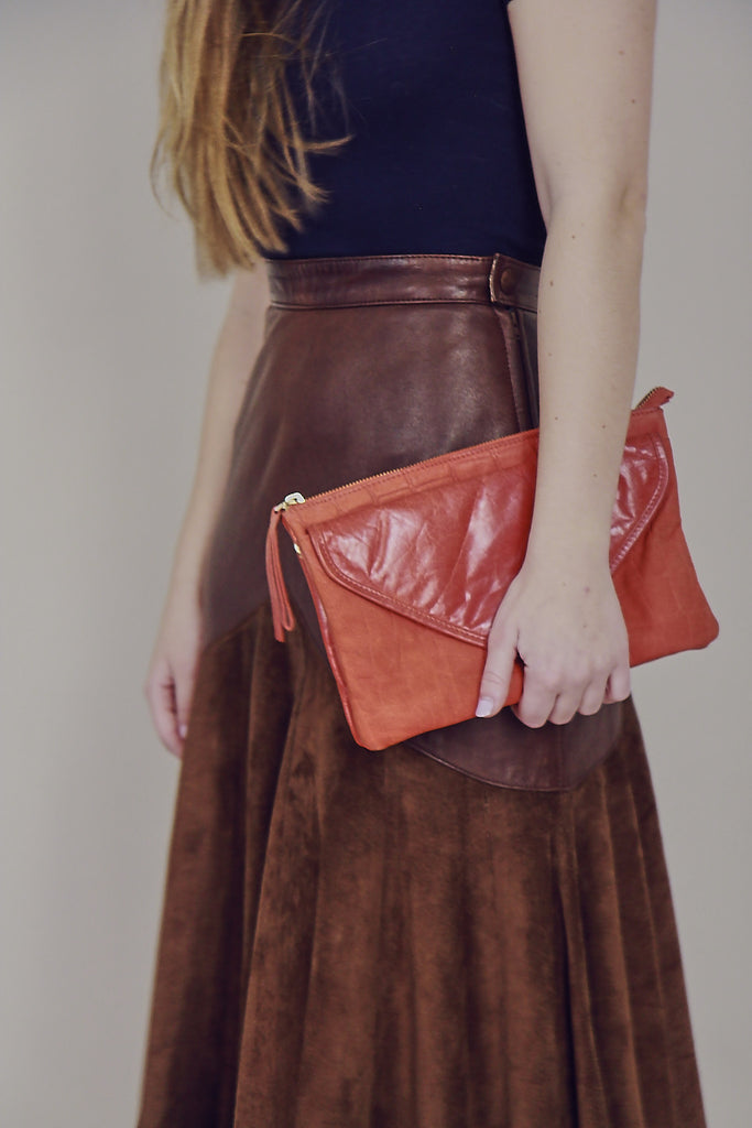 Rust Orange Leather Clutch Bag