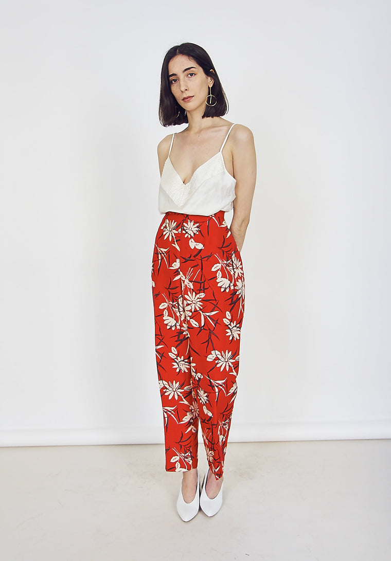 90s Vintage Silk Blossom Printed Trousers