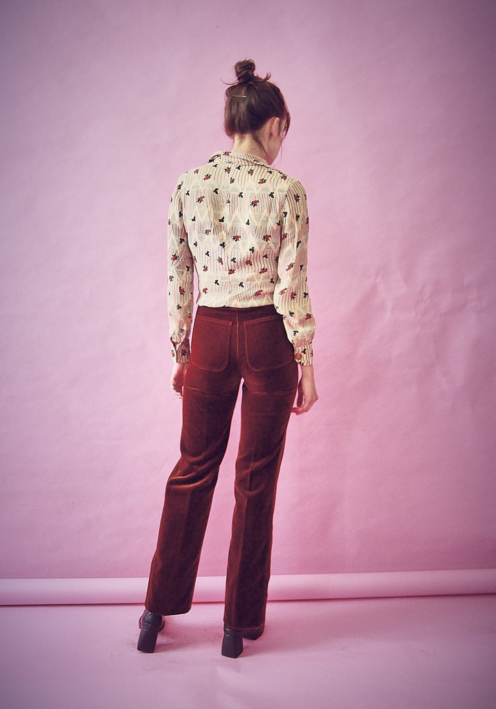 70s Toffee High Waisted Velvet Trousers