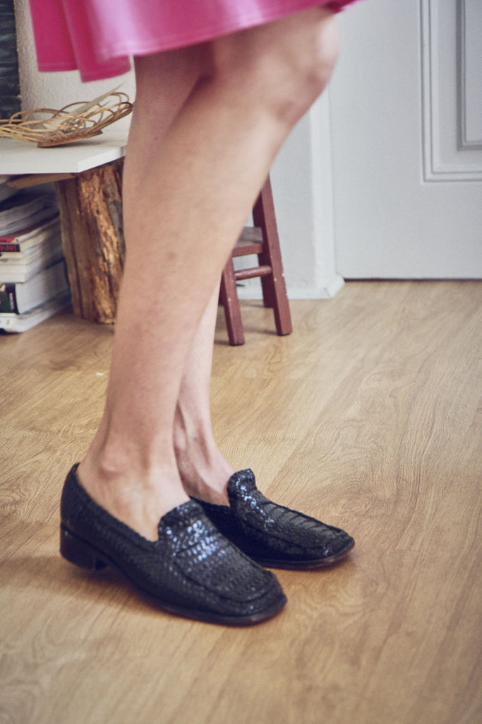 90s Black Woven Leather Loafers