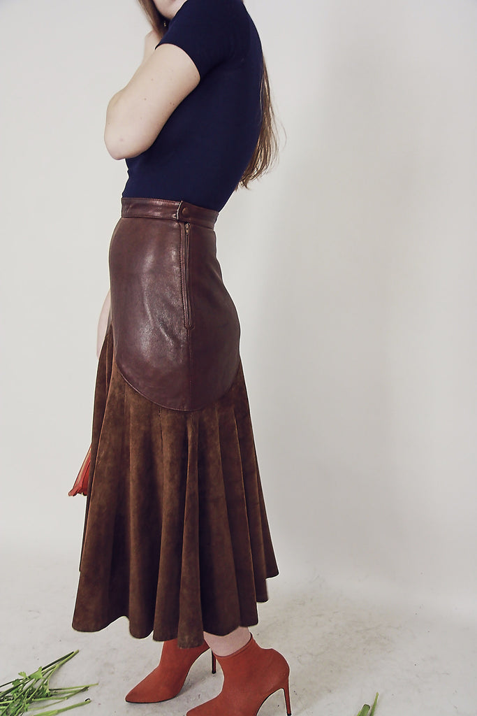Vintage 70s Chocolate Leather & Suede Skirt