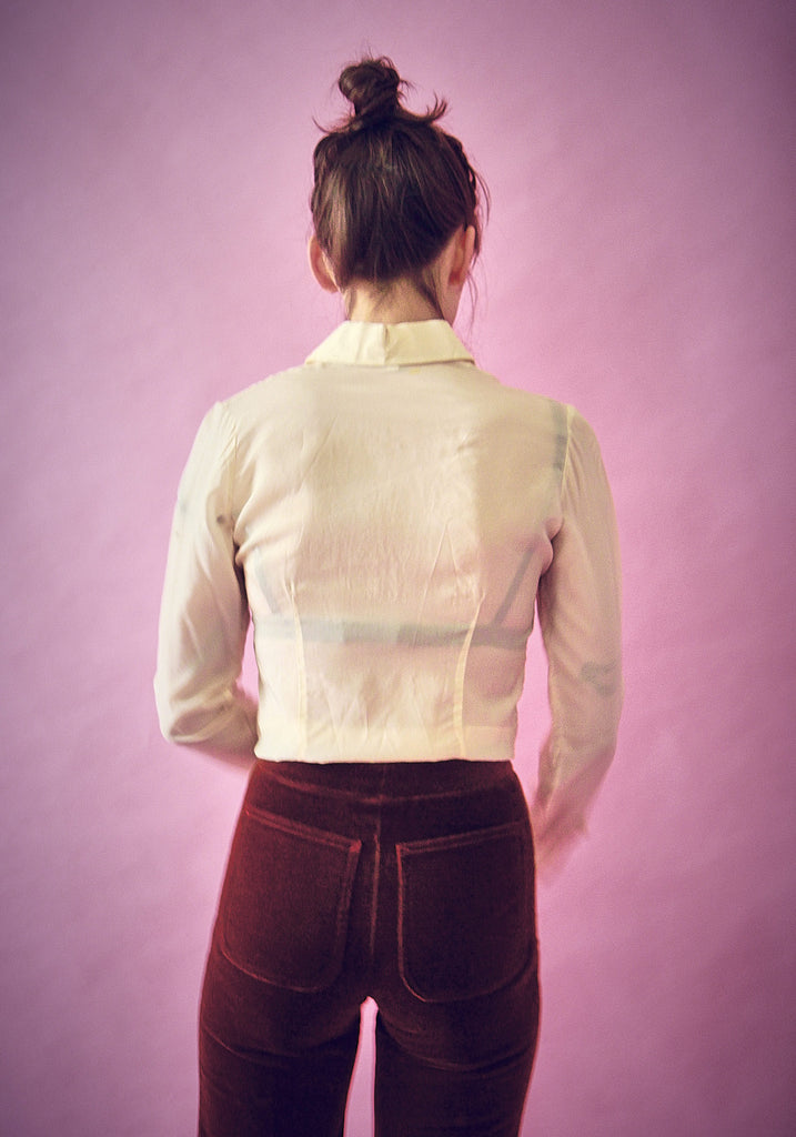 70s Vintage Silk Pointed Collar Shirt