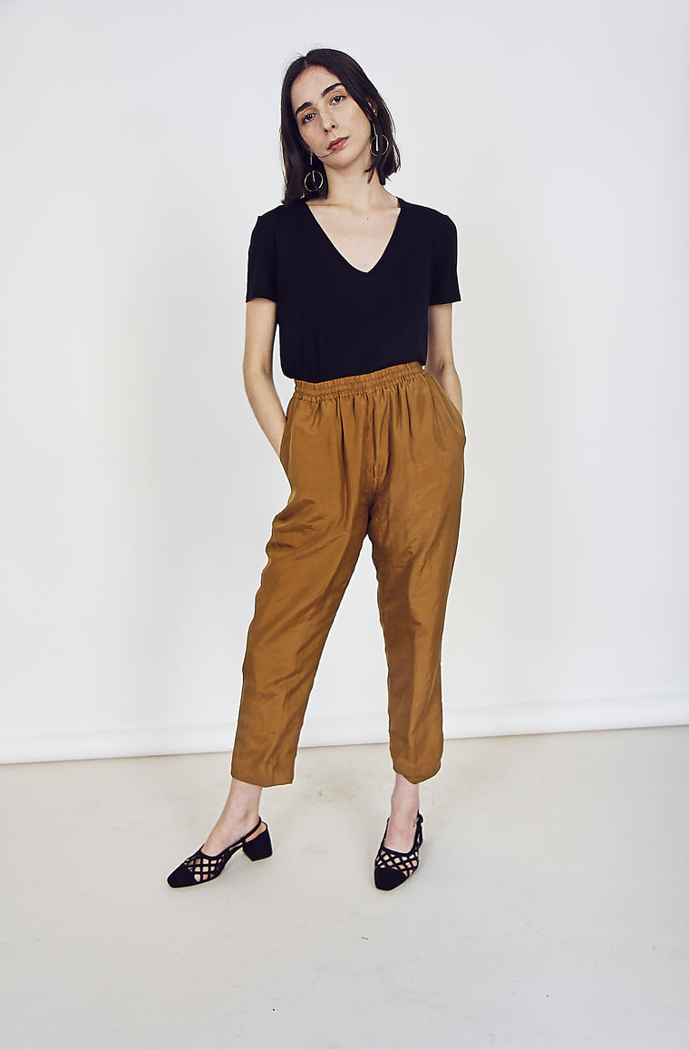 90s Vintage Silk Caramel Trousers