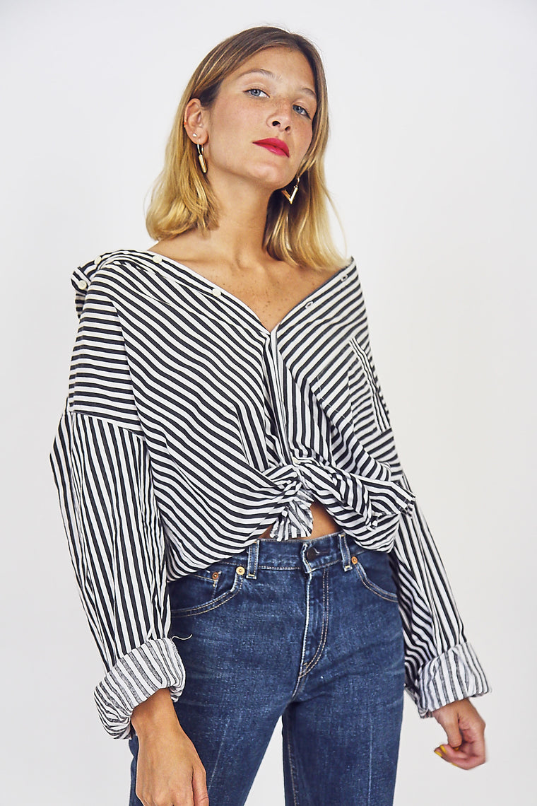 90s Oversized Monochrome Striped Cotton Shirt