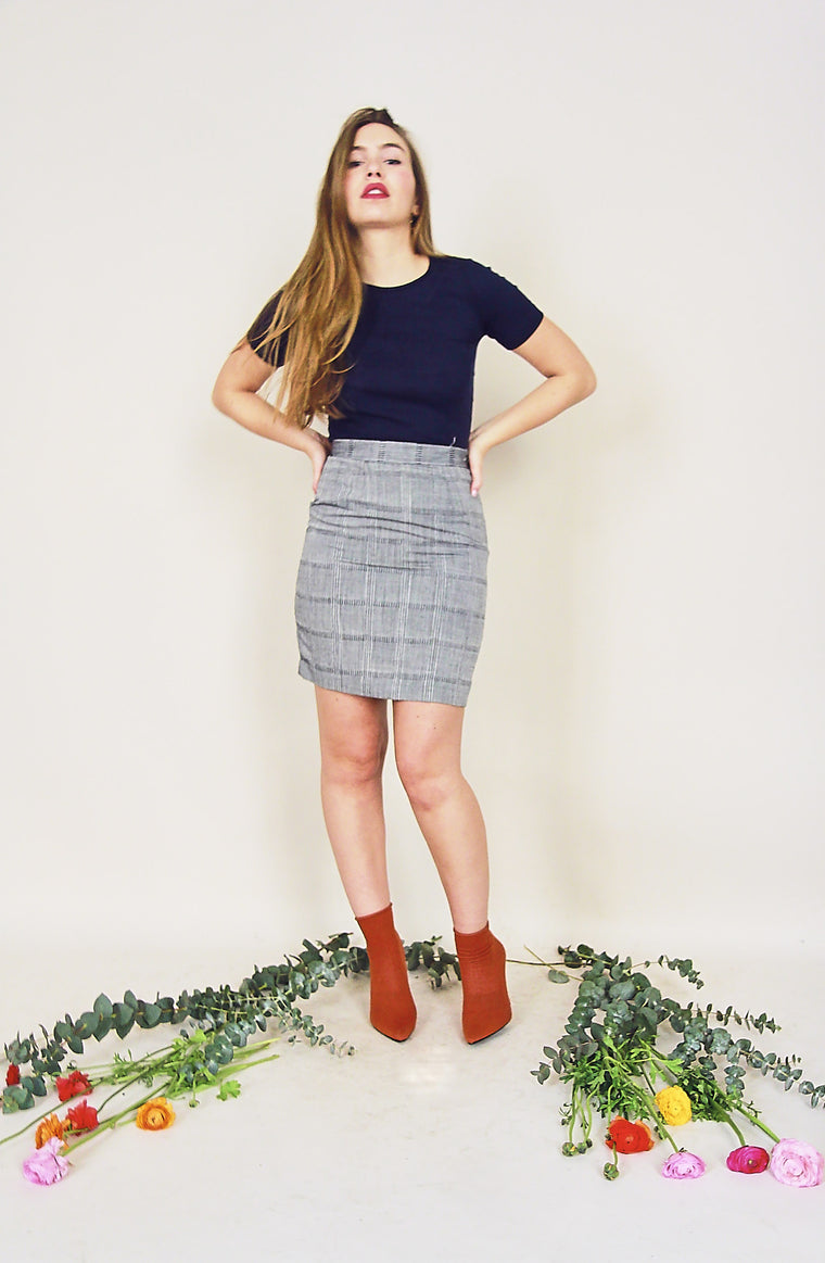 Vintage Grey Textured Pencil Skirt