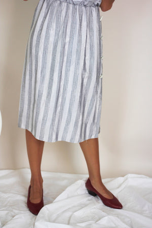 Monochrome Striped 80s Dress