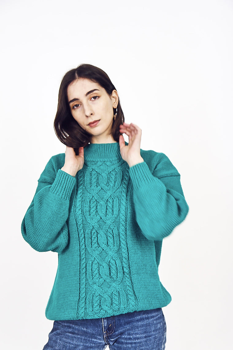90s Vintage Bottle Green  Knit