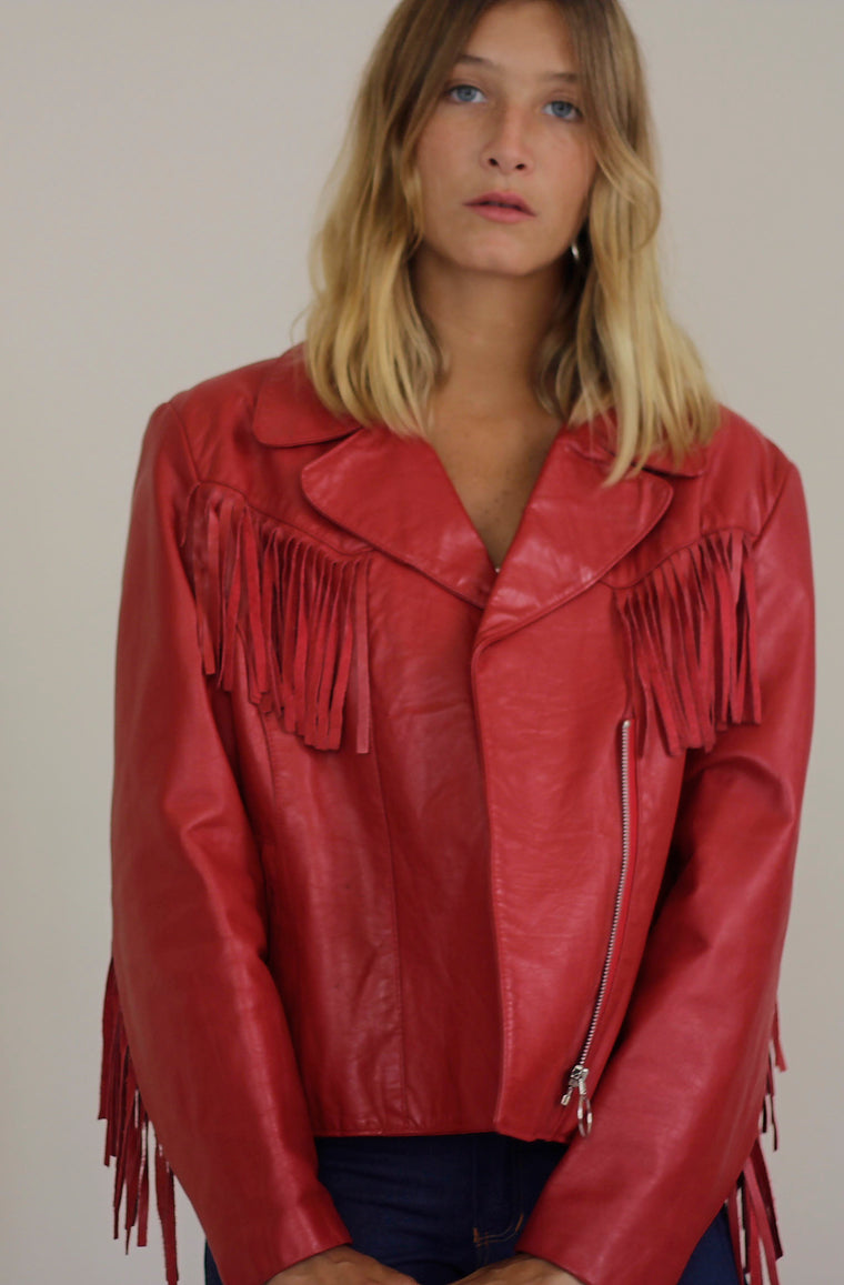 Red Tasselled Leather Jacket
