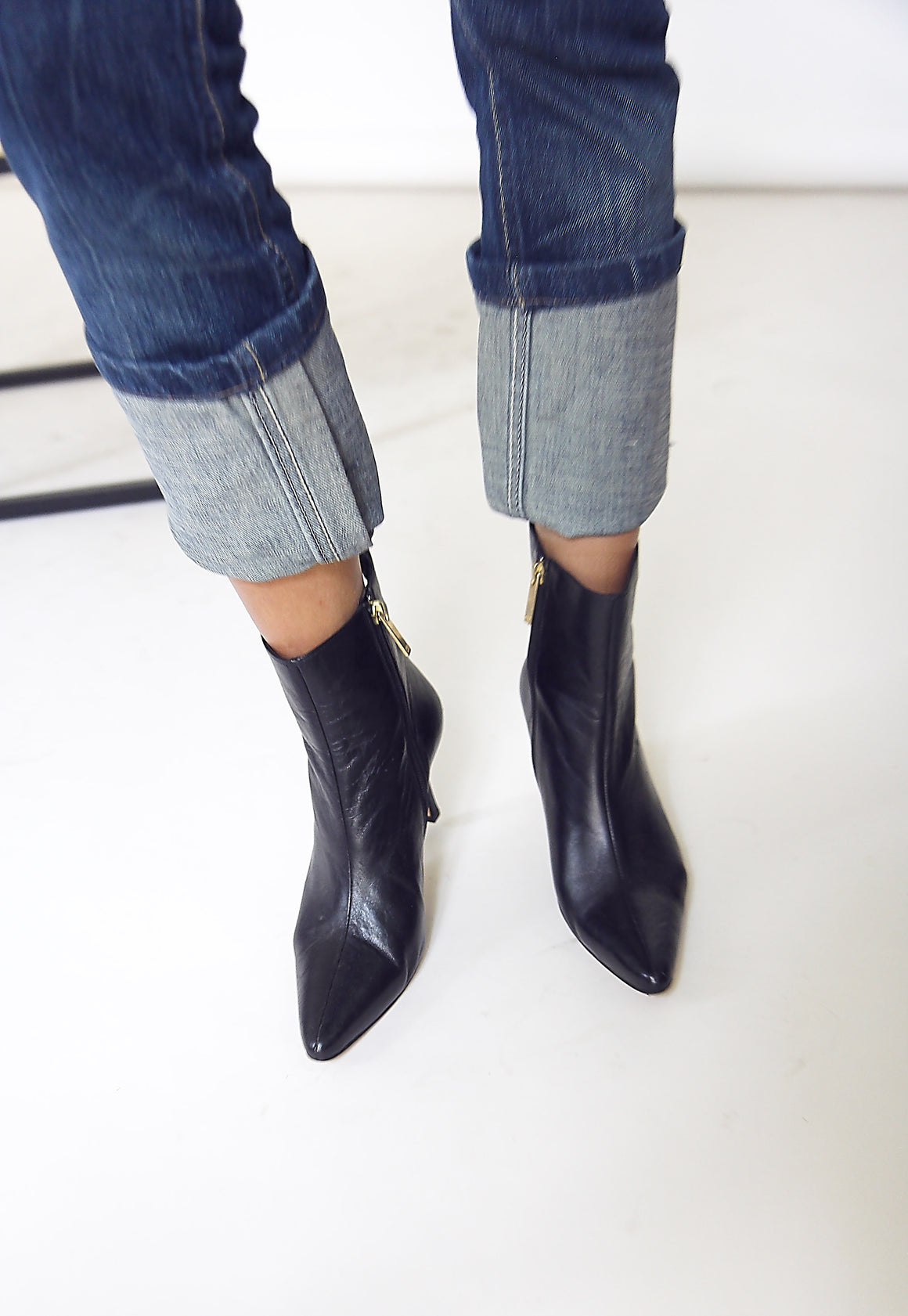 90s Black Leather Carolina Herrera Boots