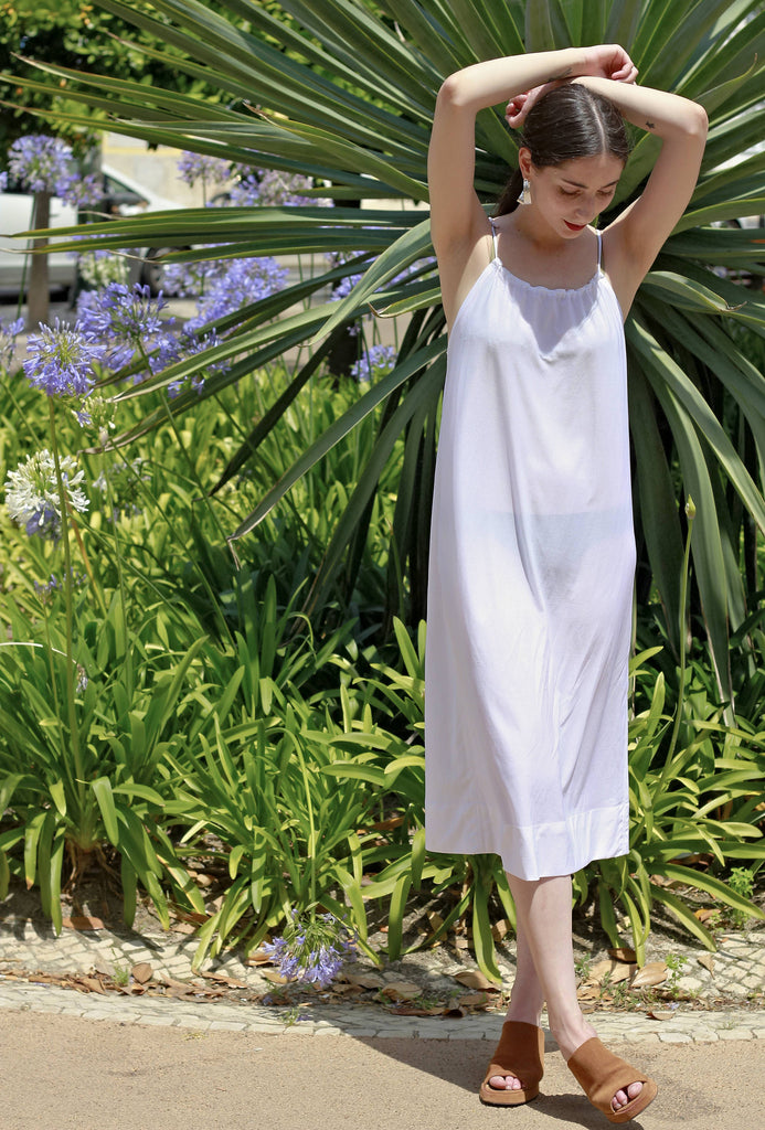 90s Vintage White Summer Slip Dress