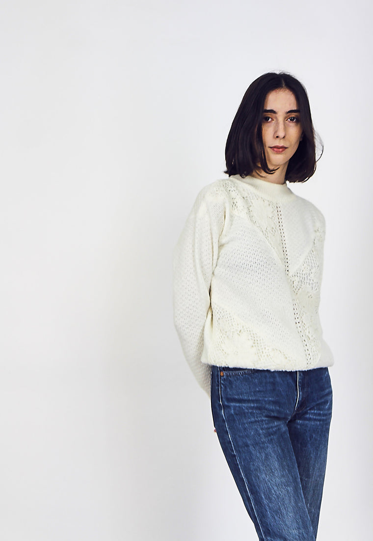 80s White Beaded Knit Jumper