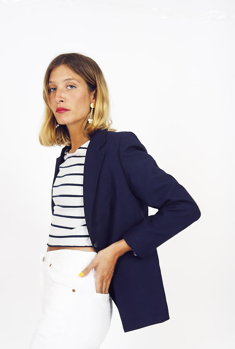 Fitted Navy School Blazer