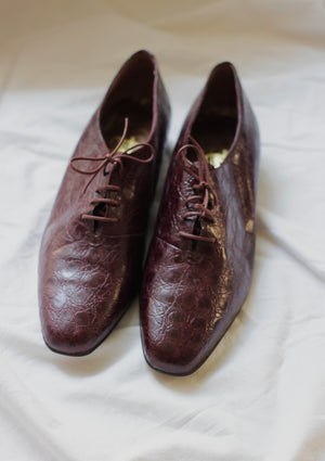 Aubergine Lace-Up Leather Loafers