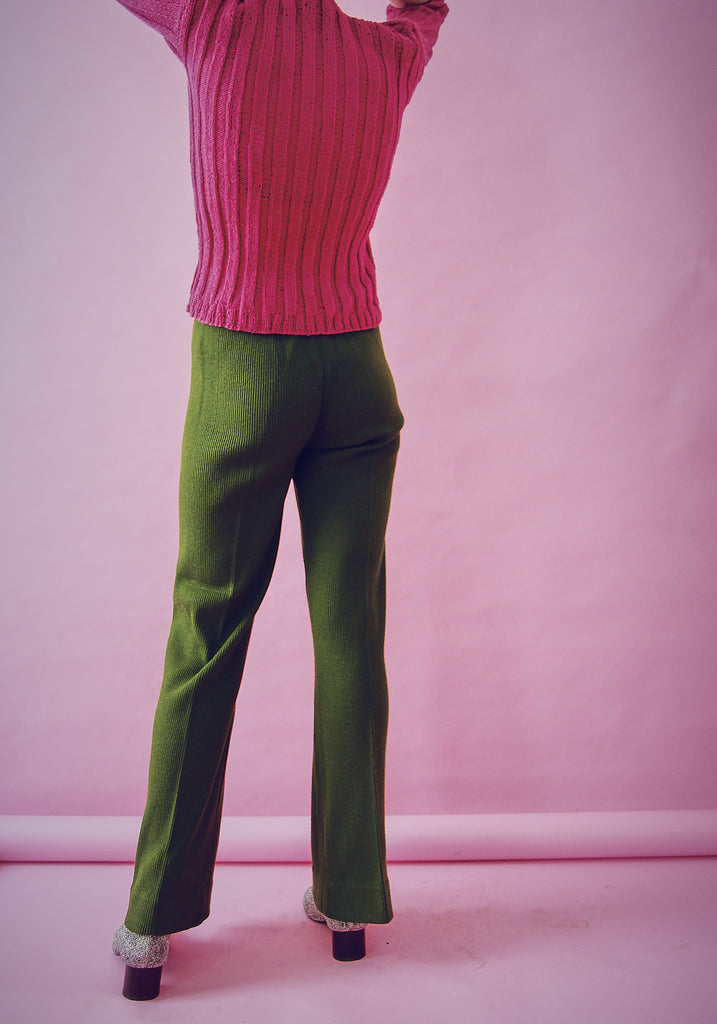 70s Wool Ribbed Deep Olive Trousers