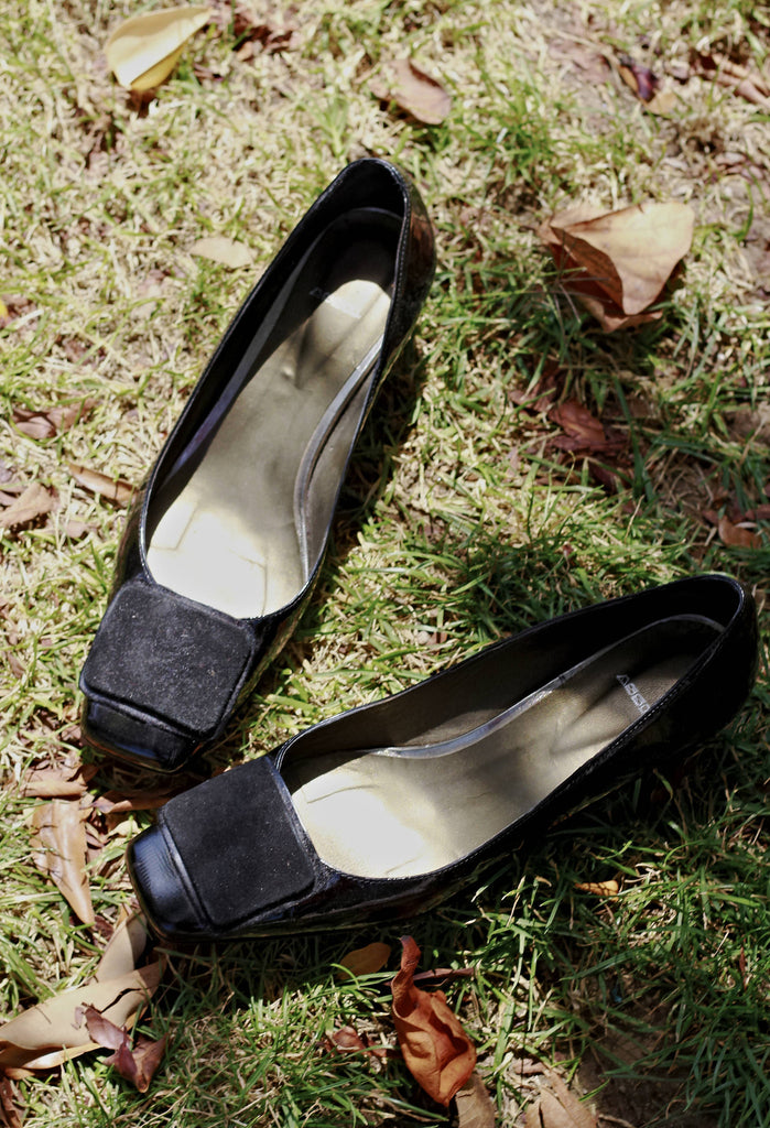 Vintage 90s Patent Leather Square Toe Pumps