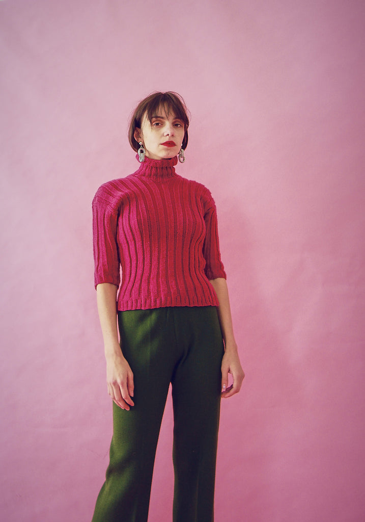 Vintage 70s Ribbed Pink Wool Top