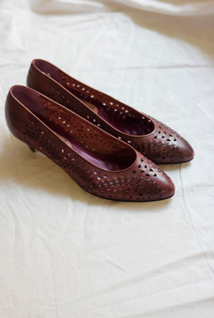 Perforated Aubergine Leather Courts