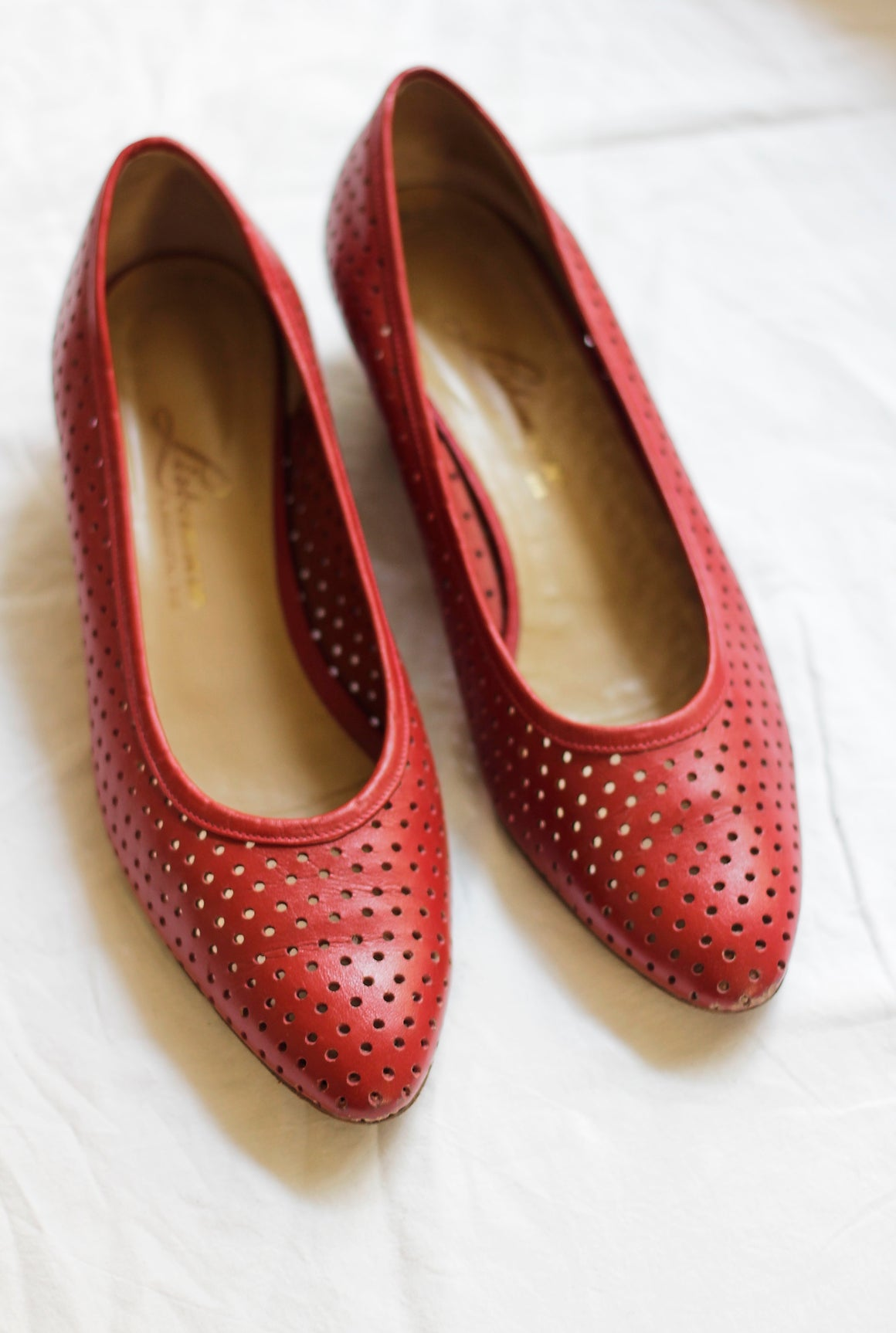 Red Perforated Leather Courts