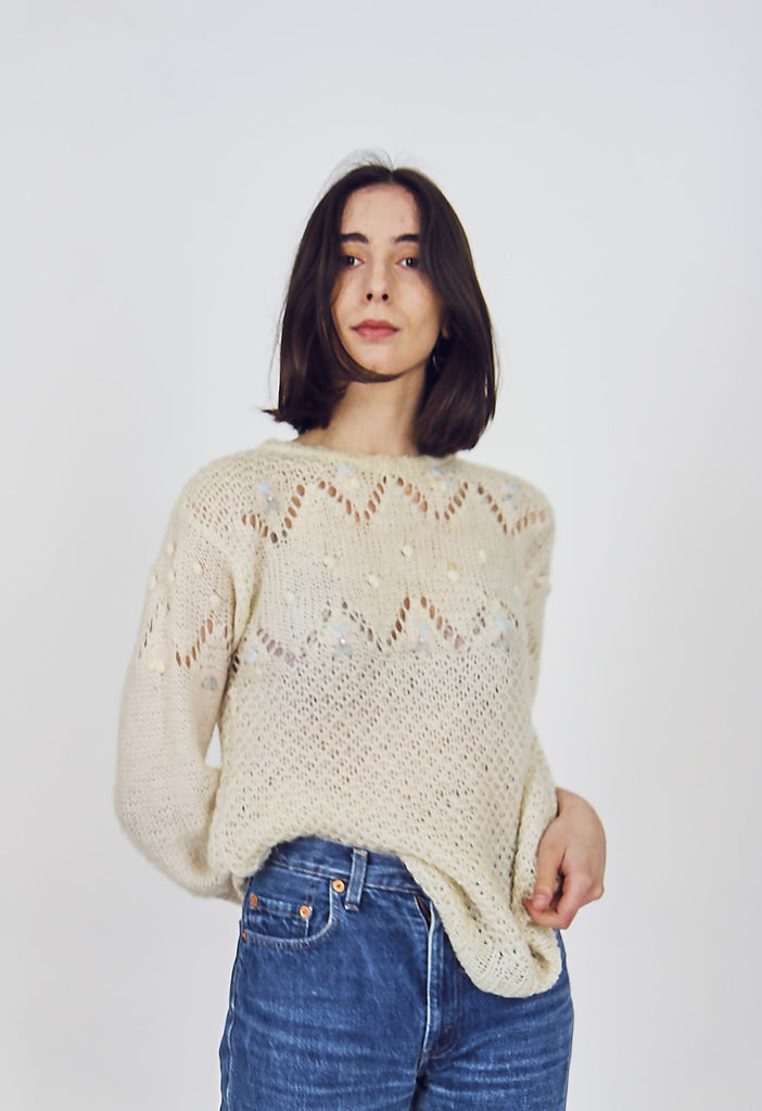 Pretty Vintage 70s Knitted Mohair Jumper