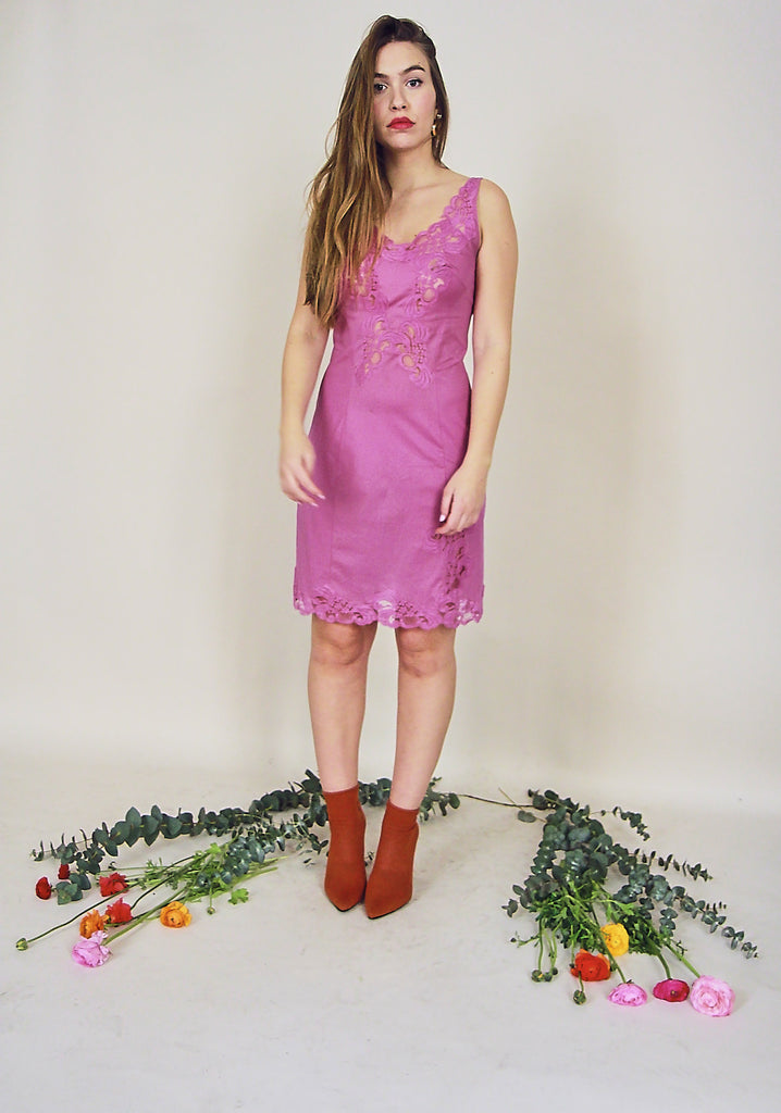 60s Pink Lace Detail Slip Dress