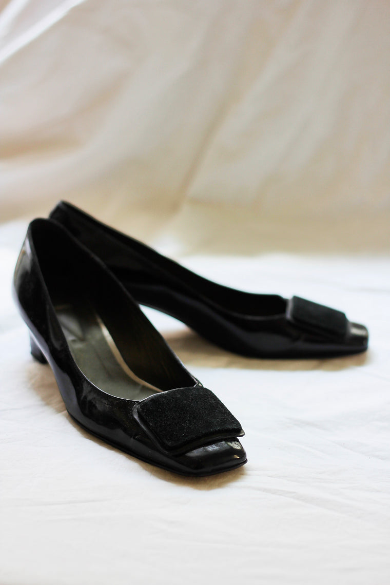 60s Style Patent Leather Square Toe Pumps
