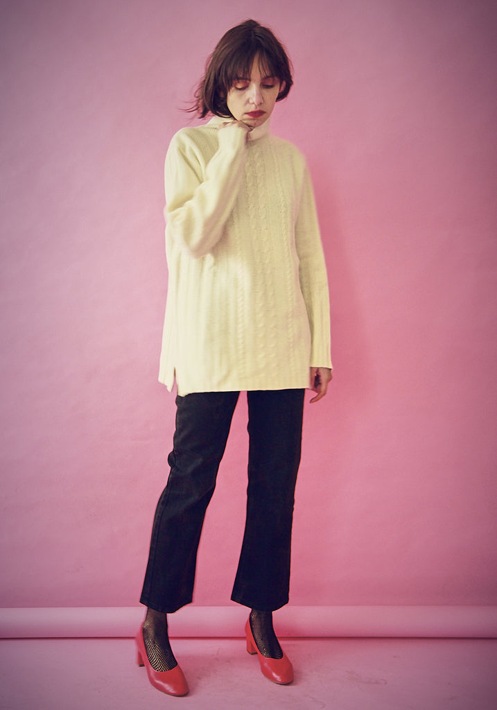 Cream chunky Wool Boyfriend Jumper