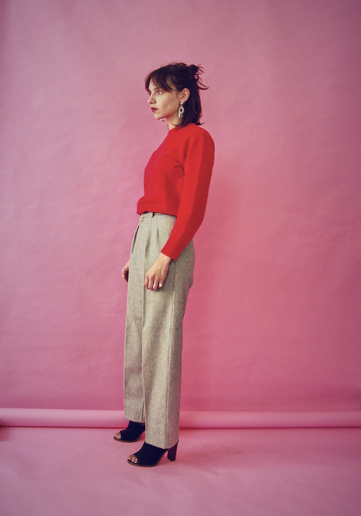 Vintage 70s Grey Tapered Wool Trousers