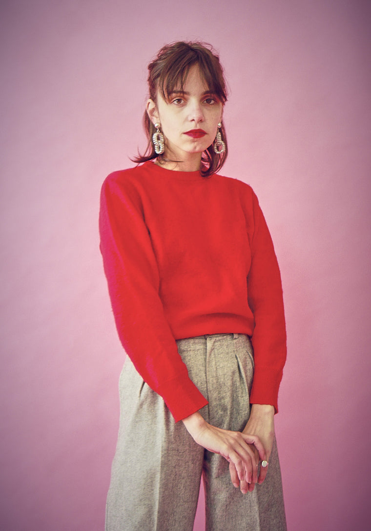 90s Vintage Wool Tomato Red Jumper