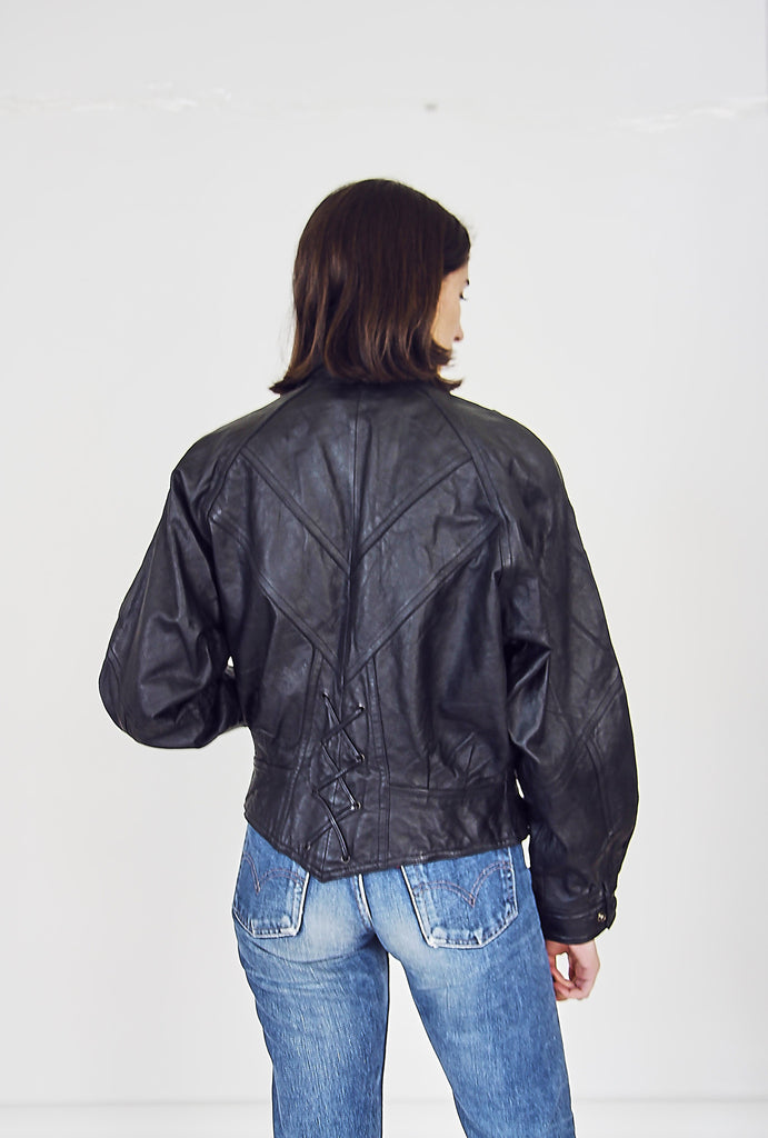 80s Black Leather Biker Jacket